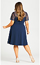Plus Size Iris Lace Yoke Dress - navy