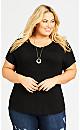 Plus Size Crochet Shoulder Top - black