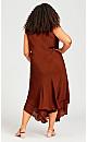 Plus Size Bias Lace Dress - terracotta