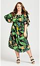Plus Size Shirred Smock Dress -  green