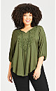 Plus Size Embroidered Peasant Top - olive