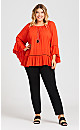 Plus Size Sleeve Detail Tunic - pumpkin