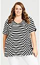 Plus Size Panel Stripe Tunic - black