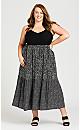 Plus Size Three Tier Print Dress - black