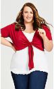 Plus Size Tie Front Shrug -  red