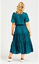 Plus Size Belted Mock Wrap Dress - teal