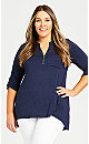Plus Size Zip Knit Tunic - navy