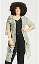 Plus Size Embroidered Kimono Jacket - sage