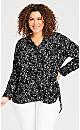 Plus Size Hi Low Print Shirt - black