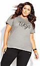 Plus Size Tokyo Chic Tee - grey