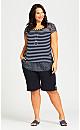 Plus Size Knit Pocket Short - navy
