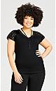 Plus Size Sequin Lace Sleeve Top - black