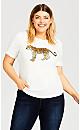 Plus Size Slogan Tee - white cheetah
