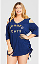 Plus Size Summer Days Cover Up - blue