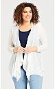Plus Size Long Mesh Plain Jacket - white