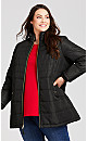 Plus Size Faux Leather Puffer - black