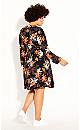 Plus Size Fall Floral Dress - black
