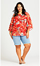 Plus Size Floral Keyhole Top - red