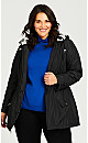 Plus Size Camo Hooded Anorak - black