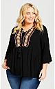 Plus Size Kiara Embroidered Top - black