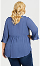 Plus Size Kiara Embroidered Top - dusty blue