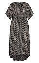 Plus Size Viv Wrap Print Maxi Dress -  black daisy