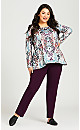 Plus Size Ponte Knit Tummy Control Pull-On Pant Wine - tall