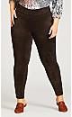 Plus Size Faux Suede Leggings  - brown