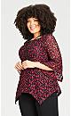 Plus Size Long Sleeve Crossdye Lace Fit & Flare Tunic - ruby