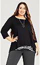 Plus Size  Leopard Print Tunic - black