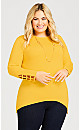 Plus Size ITY Cage Sleeve Tunic - yellow