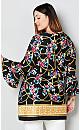 Floral Print Keyhole Tunic with Status Border Print