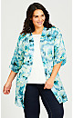 Plus Size Tie Dye Kimono - aqua