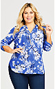 Plus Size 3/4 Sleeve Cuff Floral Popover  - blue