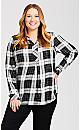 Plus Size Long Sleeve Plaid Peplum Shirt - black