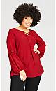 Plus Size Crochet Trim Long Sleeve Top - wine