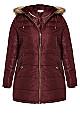 Plus Size Faux Leather Trim Puffer Jacket - burgundy