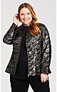 Plus Size Pleather Metallic Camo Print Jacket - multi