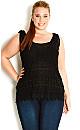 Daisy Crochet Top - Black - 20 / L