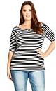 Stripe Bardot Top - Black - 18 / M