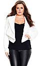 Sharp Collar Jacket - White - 22 / XL