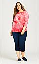 Plus Size 3/4 Sleeve Tie Dye Heart Scoop Tee - red