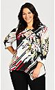 Plus Size Tropical Floral Stripe Asymmetrical Tunic - multi
