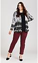 Plus Size Black White Brushstroke Cardigan - grey