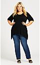 Plus Size Pocket Plain Tunic - black