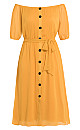Button Through Dress - gold