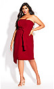 Plus Size Origami Dress - red