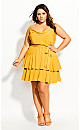 Mini Frill Dress - mustard