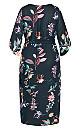 Plus Size Floral Crush Midi Dress - teal