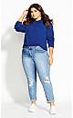 Cute Crop Sweater - cobalt